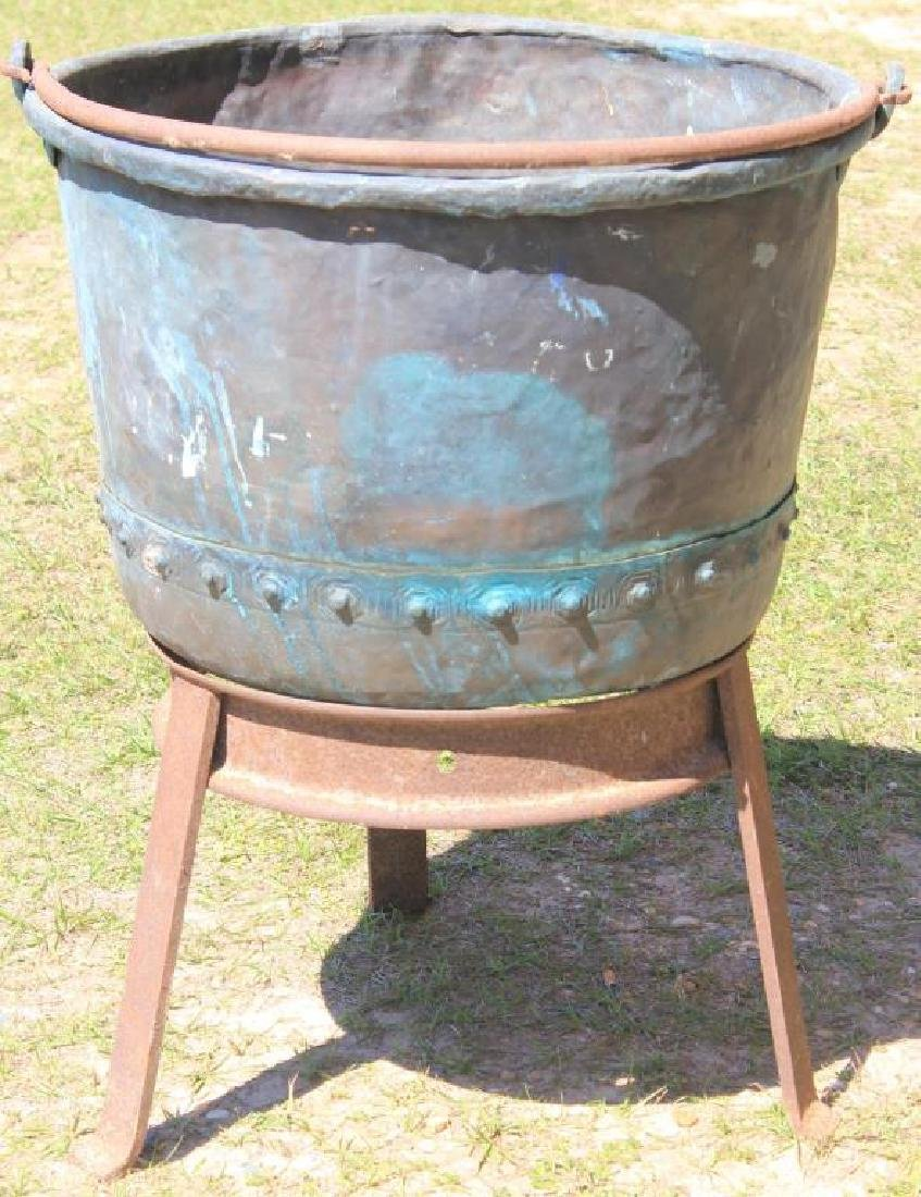 LARGE COPPER BUCKET W/ IRON BAIL HANDLE ON CUSTOM
