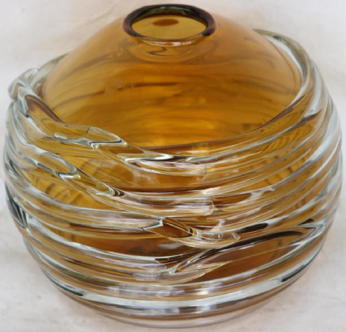 WILLIAM YEOWARD ART GLASS BOWL, APPLIED CLEAR