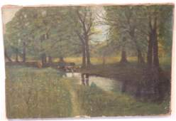 UNFRAMED OIL ON CANVAS LANDSCAPE W COWS