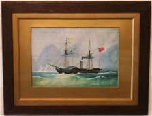 FRAMED  GLAZED WATERCOLOR OF STEAMSHIP CITY