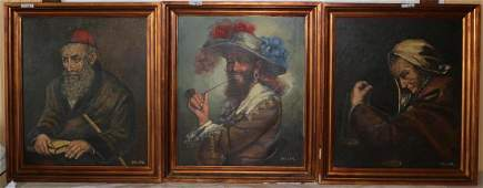 3 OIL ON CANVAS PORTRAITS GENTLEMAN, TO INCL