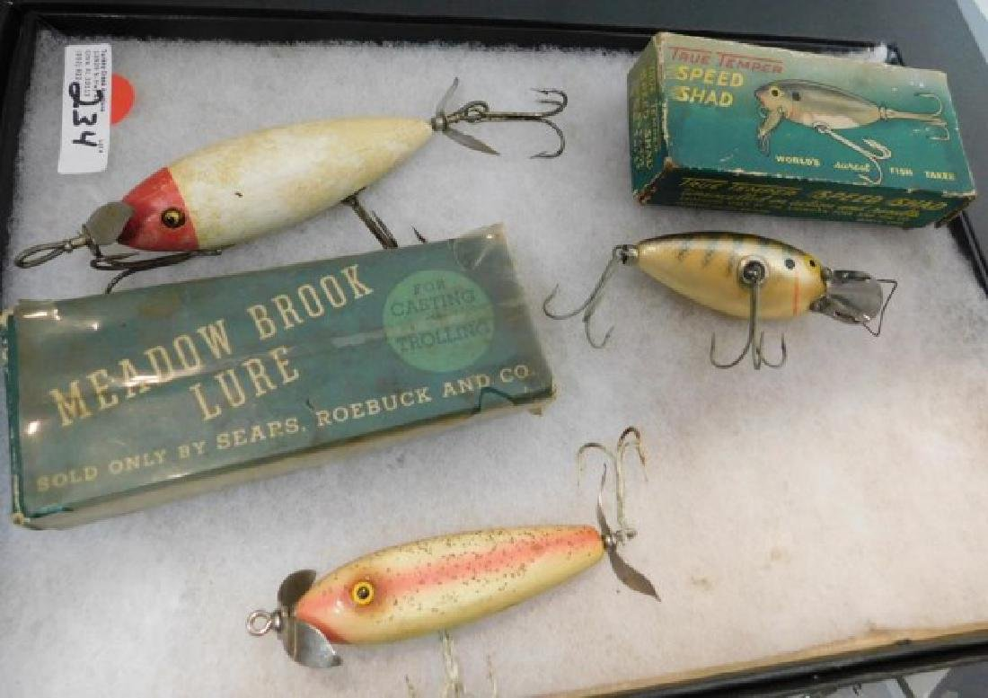 3 WOODEN FISHING LURES INC  MEADOW BROOK