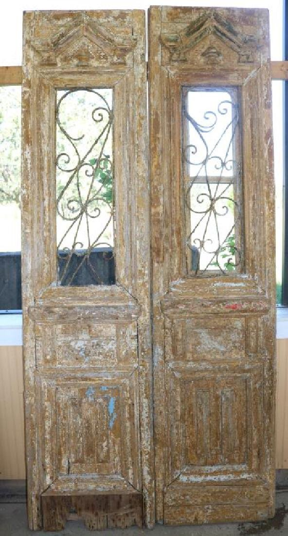 PAIR OF PAINTED EGYPTIAN DOORS W/ WROUGHT