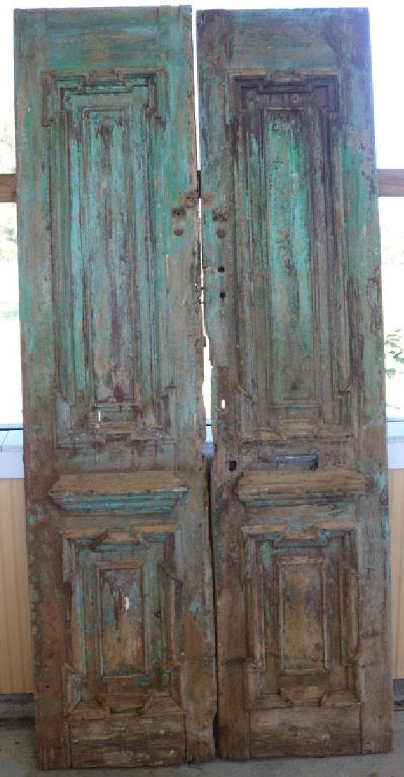 PAIR OF BLUE AND GREEN RAISED PANEL AND