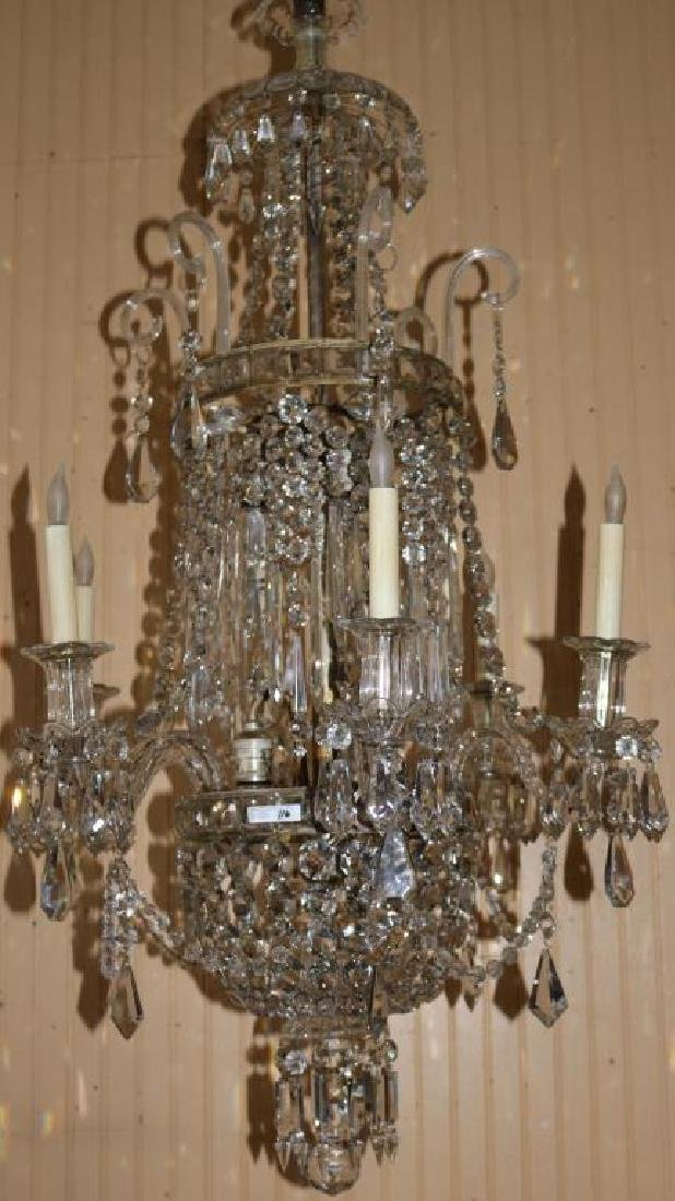EARLY 20TH C. 12 LIGHT CRYSTAL CHANDELIER,