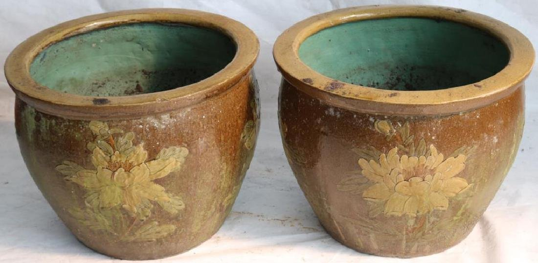 PAIR OF 20TH C. ASIAN PLANTERS W/ WATER LILY