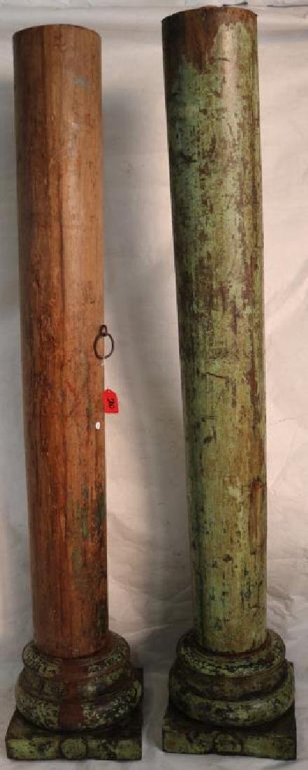 2 PAIR OF INDONESIAN TURNED COLUMNS, TWO PART,
