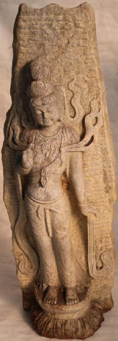 LARGE CARVED STONE GODDESS RELIEF CARVED, ONE