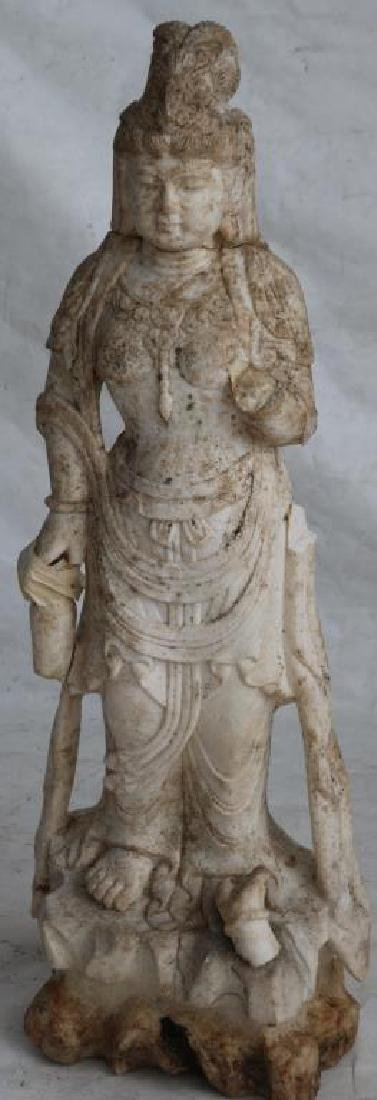 19TH C. CARVED MARBLE INDONESIAN GODDESS, AS IS,