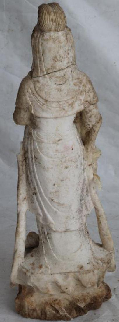 19TH C. CARVED MARBLE INDONESIAN GODDESS, AS IS, - 2