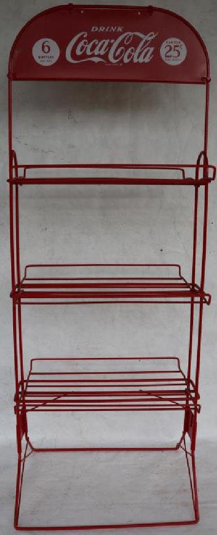 FOLDING COCA COLA DOUBLE SIDED BOTTLE RACK, LATE