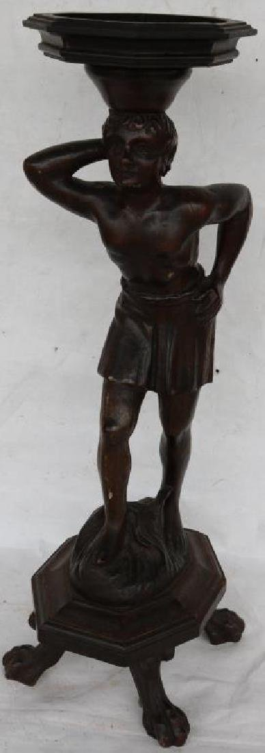 CARVED AND FOOTED FIGURE OF MAN, CARVED WOOD