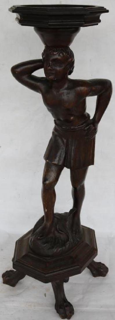CARVED AND FOOTED FIGURE OF MAN, CARVED WOOD - 2