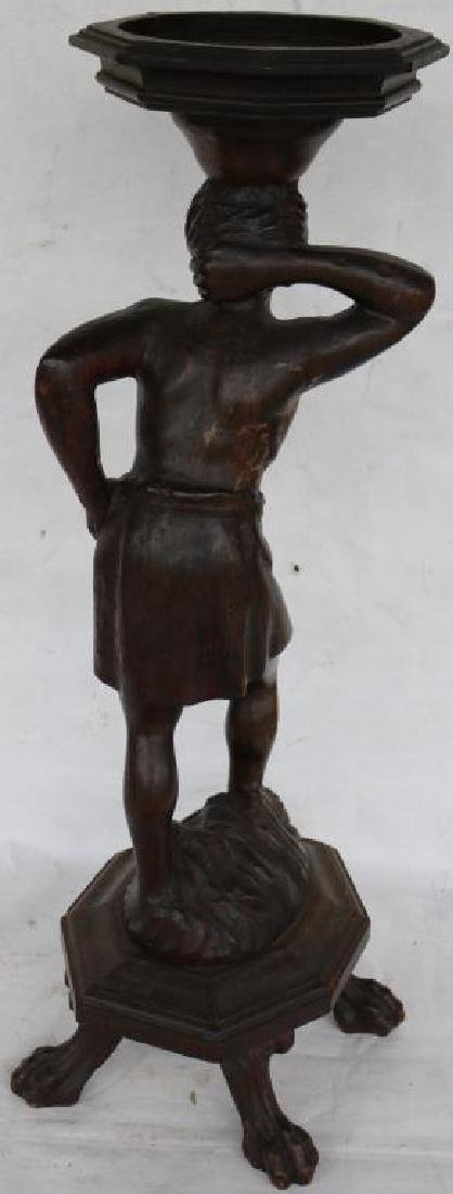 CARVED AND FOOTED FIGURE OF MAN, CARVED WOOD - 3