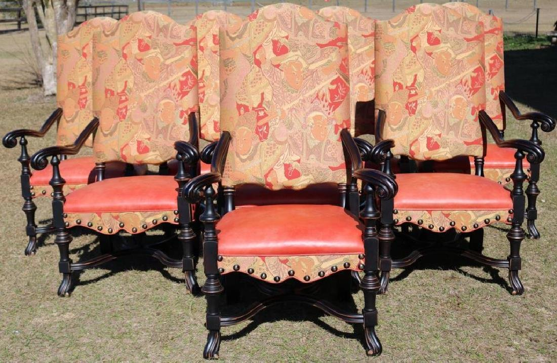 SET OF 8 CONTEMPORARY SPANISH FOOT ARM CHAIRS,