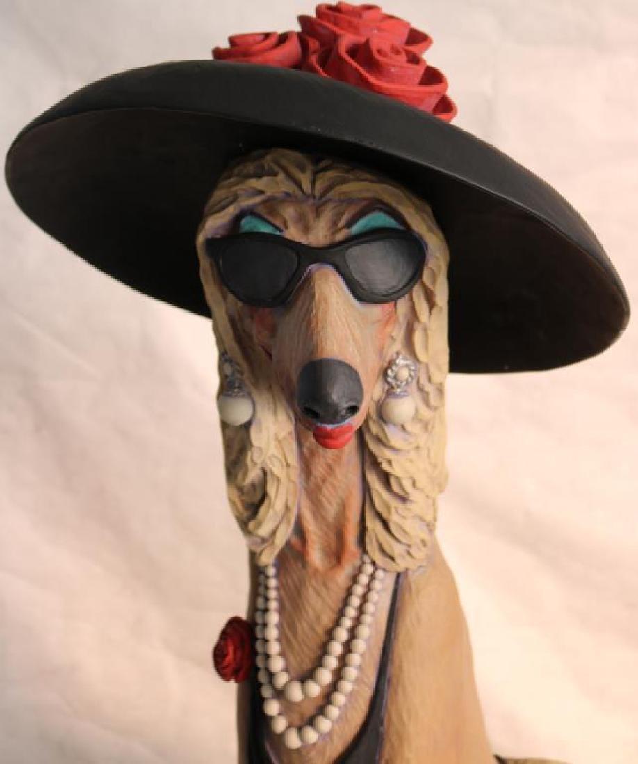 CONTEMPORARY SCULPTURE OF FASHIONISTA DOG, - 3