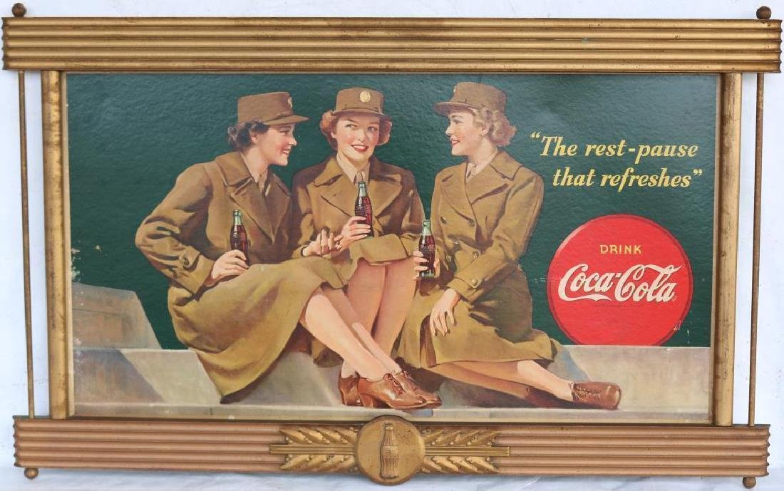 VINTAGE 1940 COCA COLA SIGN, GOLD PAINTED WOODEN