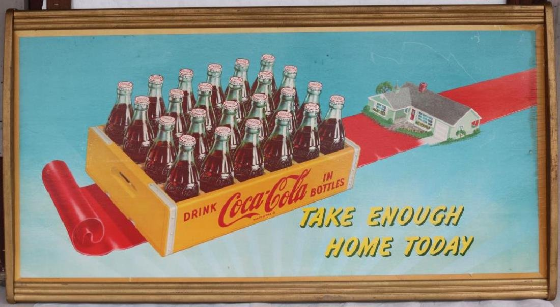 LARGE VINTAGE COCA COLA 1950'S ORIGINAL GOLD
