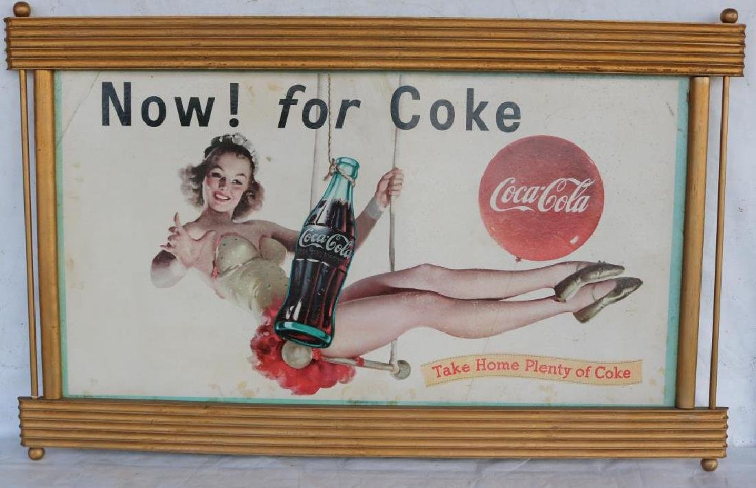 VINTAGE 1959 WOOD FRAME COKE SIGN DEPICTING