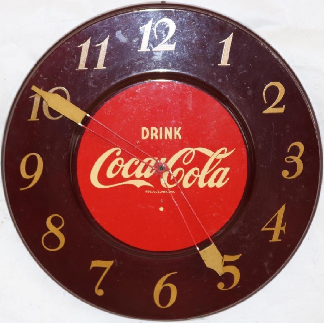 VINTAGE COCA COLA CLOCK, ORIGINAL FINISH,