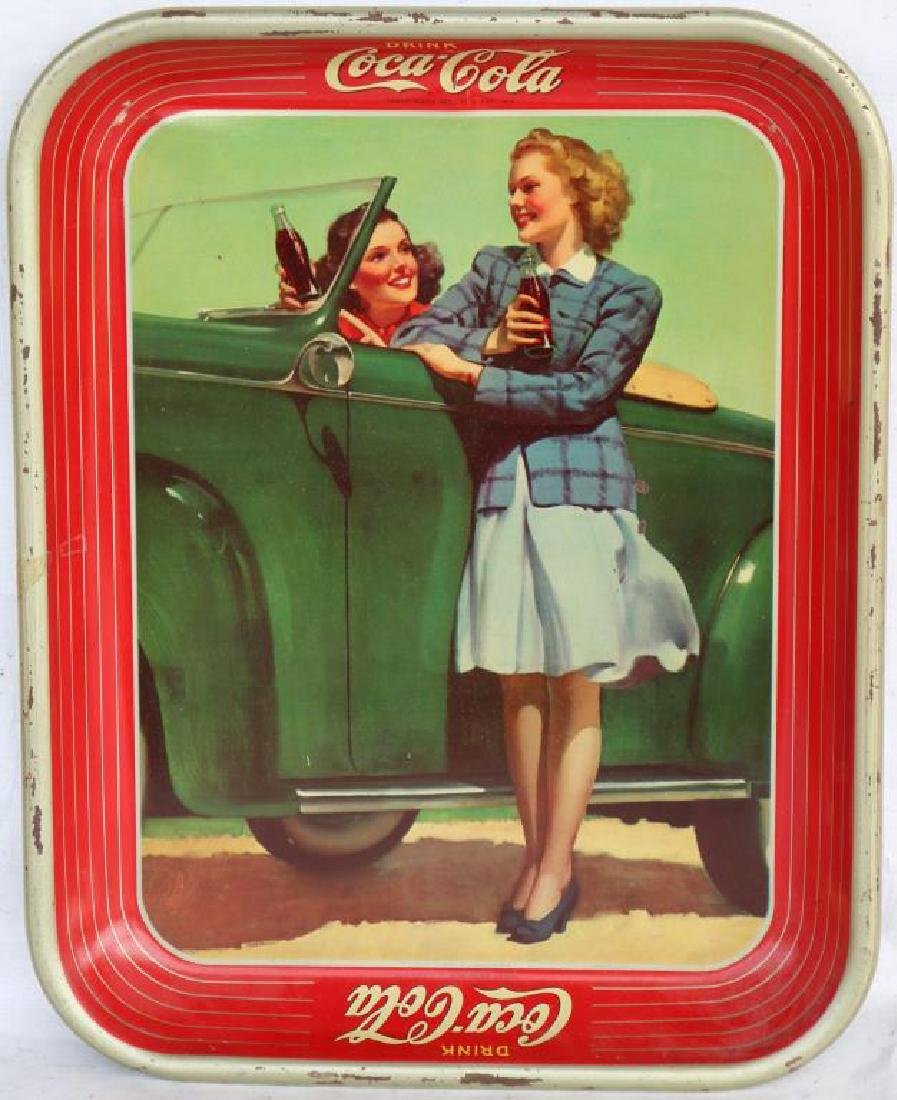 LITHO TIN COKE TRAY, GIRLS WITH OLD CAR, 1942