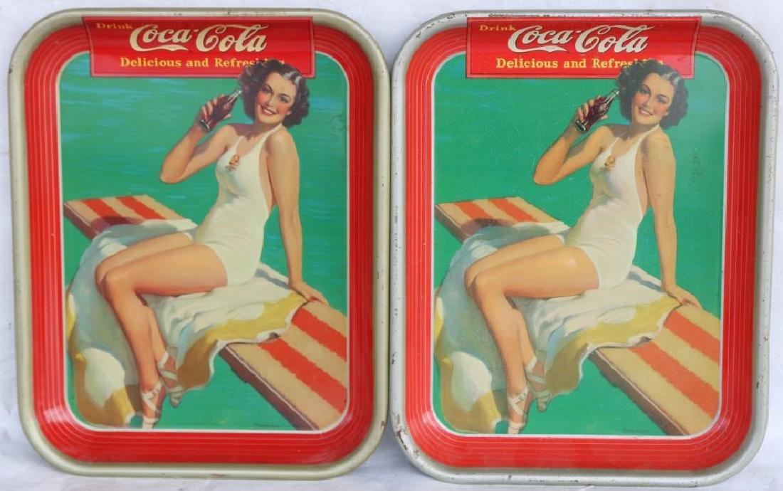2 1939 COKE TRAYS, BATHING BEAUTY, GOOD OVERALL