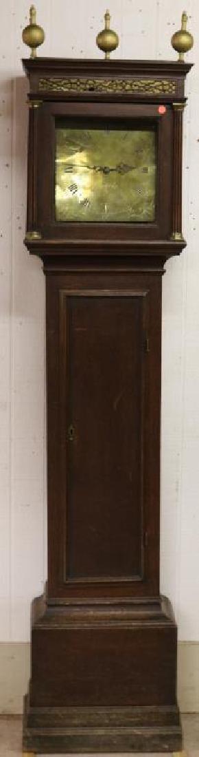 18TH C. ENGLISH OAK TALL CASE CLOCK W. BRASS DIAL