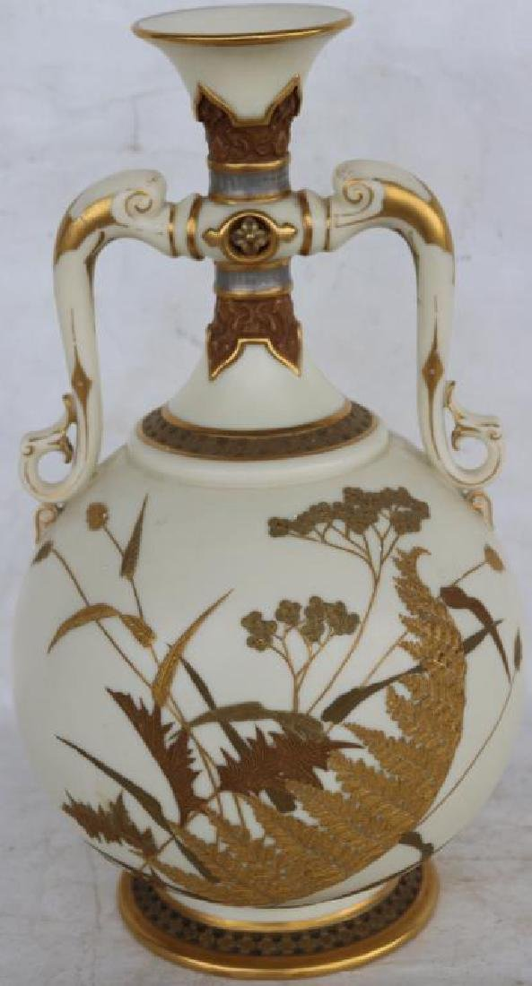 ROYAL WORCESTER DOUBLE HANDLED VASE W/ GILT AND