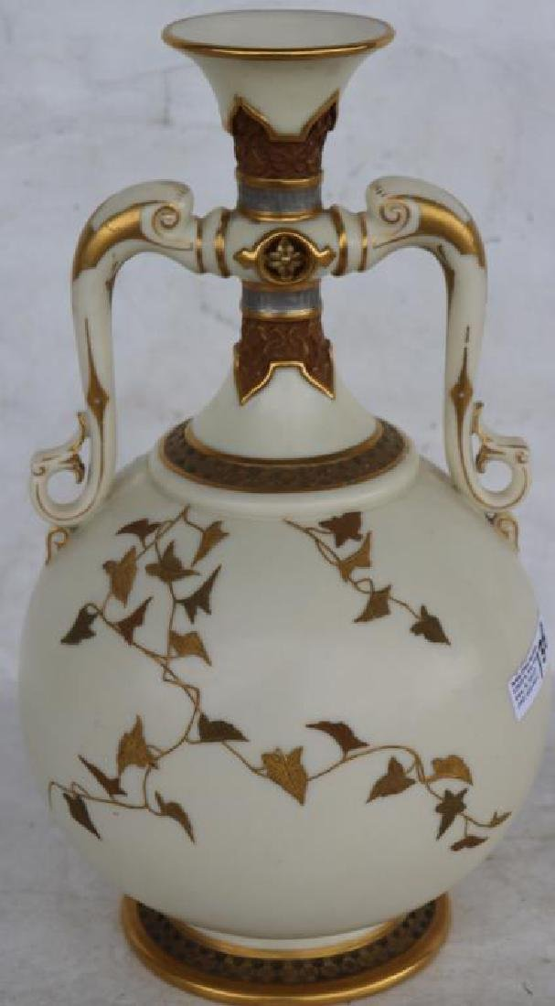 ROYAL WORCESTER DOUBLE HANDLED VASE W/ GILT AND - 2