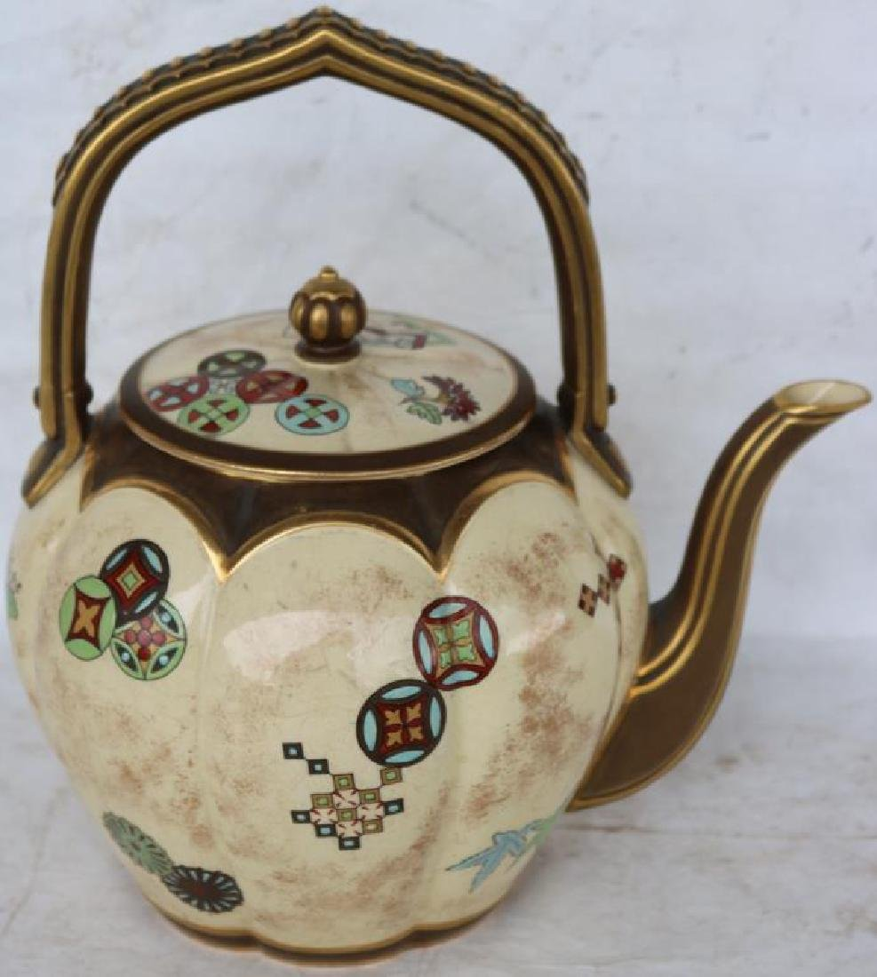 ROYAL WORCESTER TEAPOT GOLD GILT W/ ANGLO