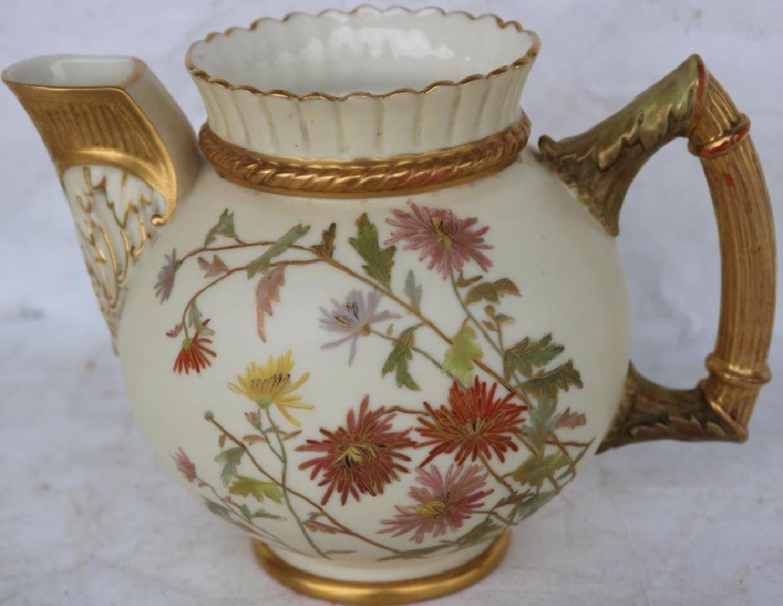 ROYAL WORCESTER HANDLED PITCHER, GOLD GILT W/