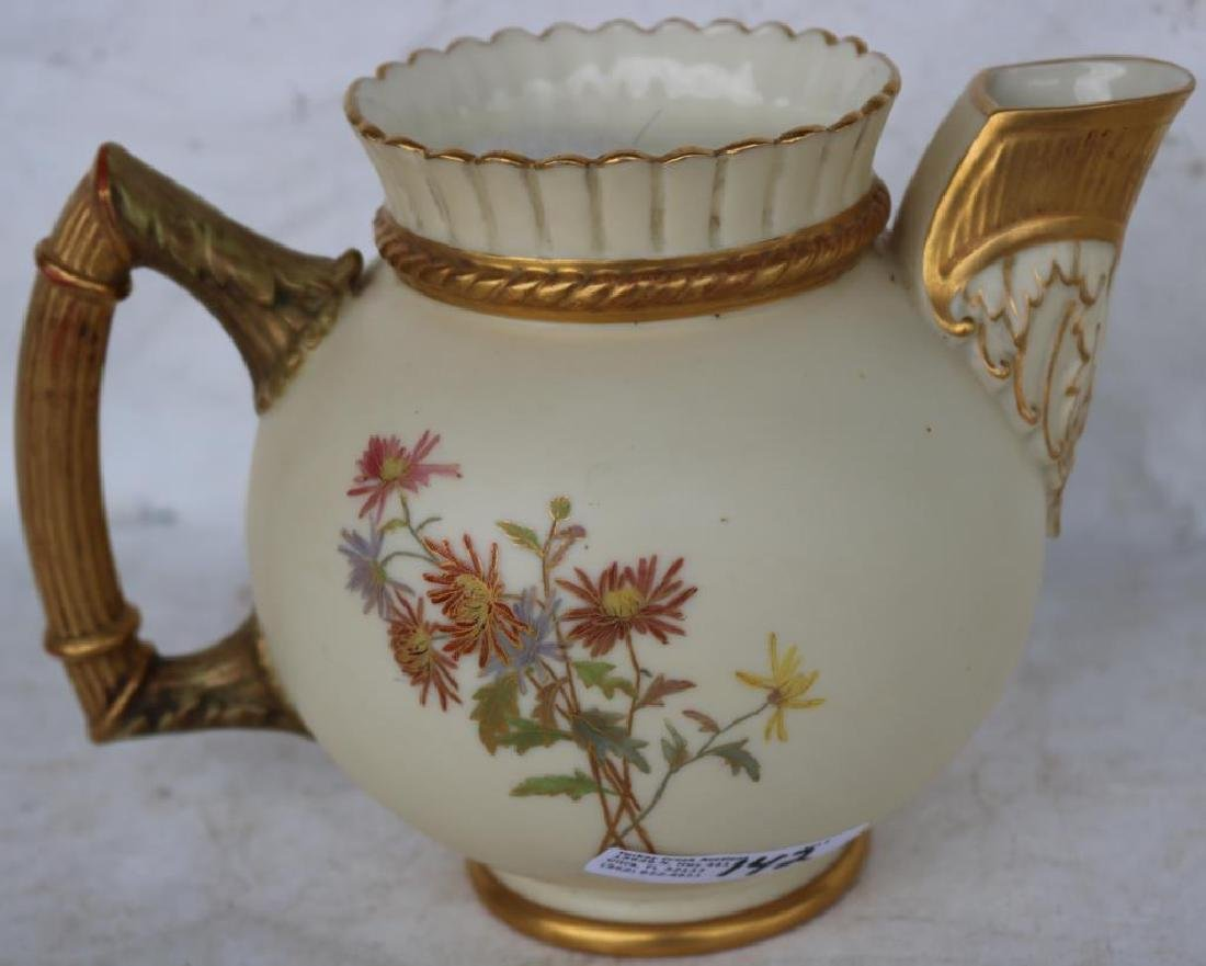 ROYAL WORCESTER HANDLED PITCHER, GOLD GILT W/ - 2