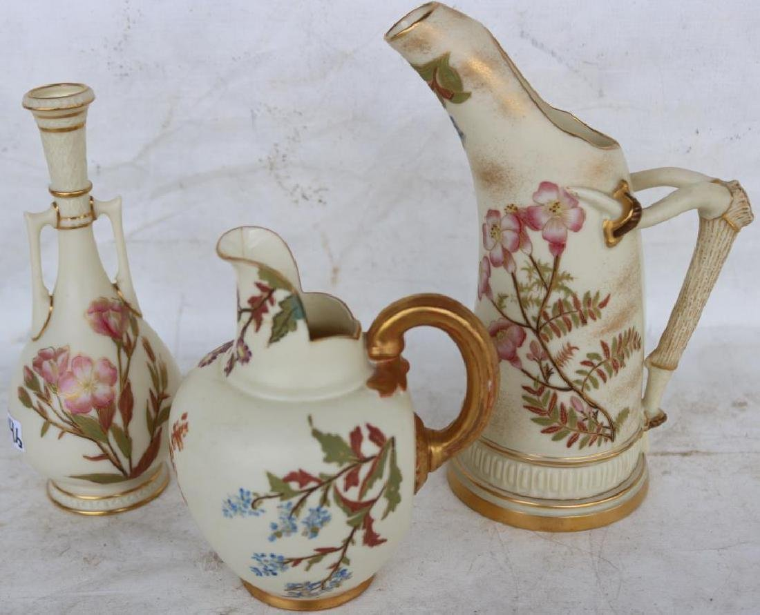 3 SMALL ROYAL WORCESTER ITEMS INC HANDLED VASE