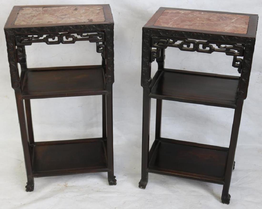 LATE 19TH C. CARVED TEAK STANDS W/INSET MARBLE TOP