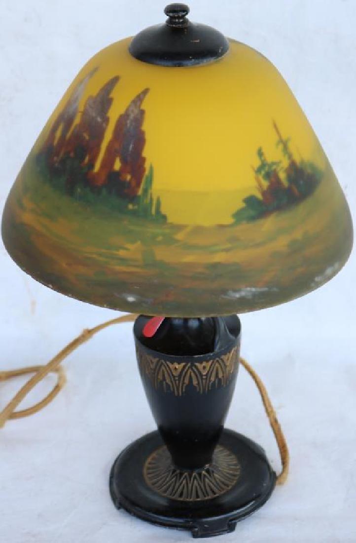REVERSE PAINTED BOUDOIR LAMP, LANDSCAPE SCENE