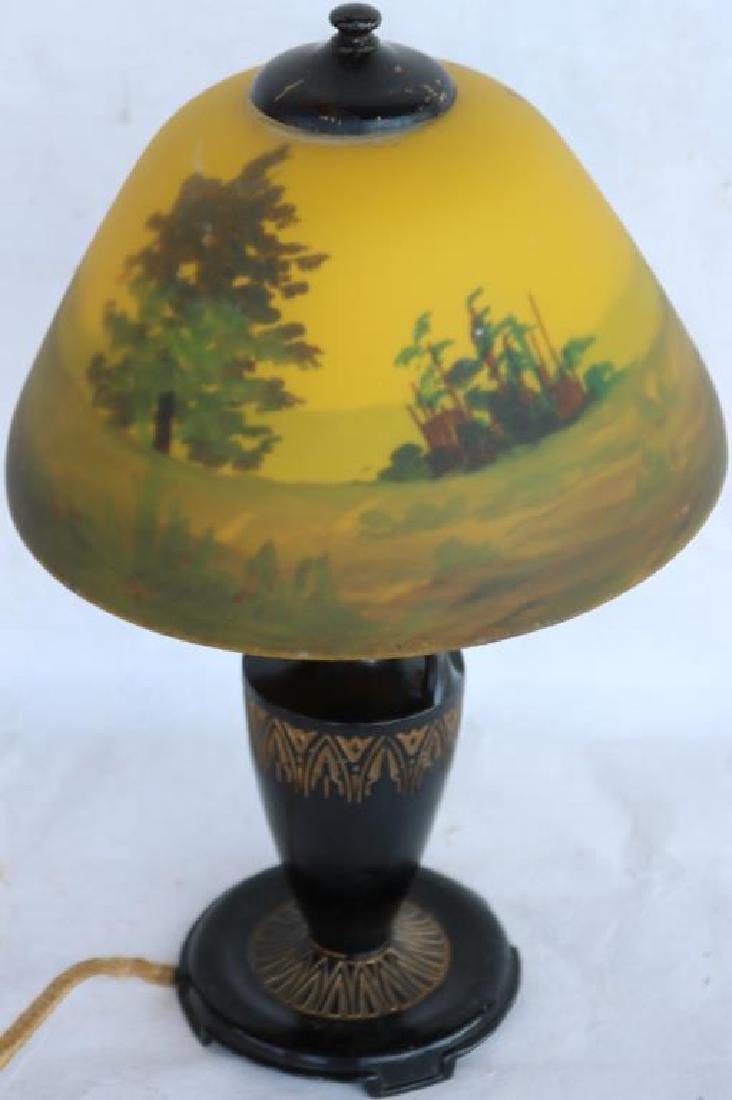 REVERSE PAINTED BOUDOIR LAMP, LANDSCAPE SCENE - 2