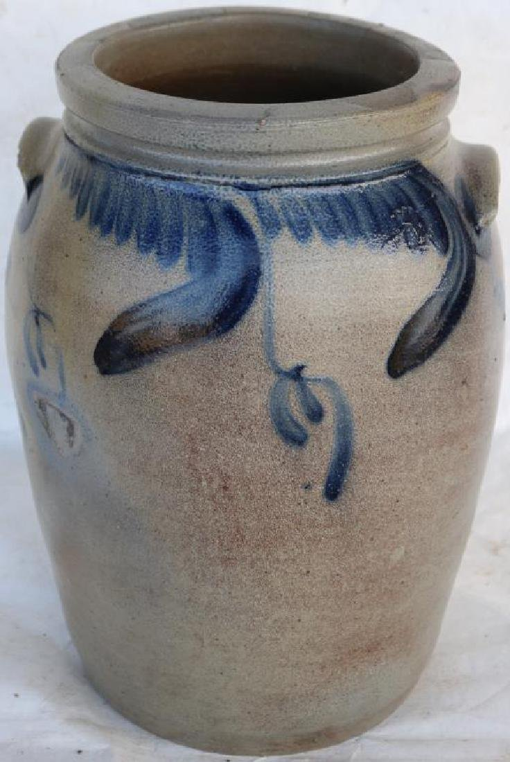 BLUE DECORATED STONEWARE HANDLED CROCK,