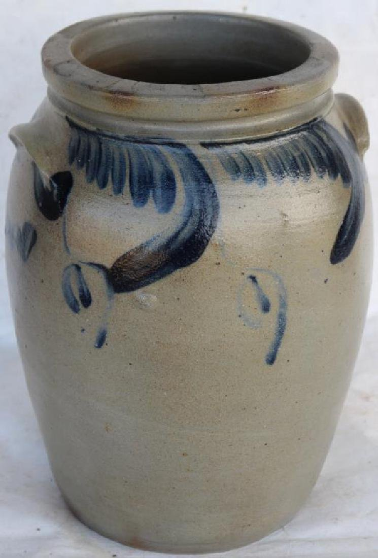 BLUE DECORATED STONEWARE HANDLED CROCK, - 2