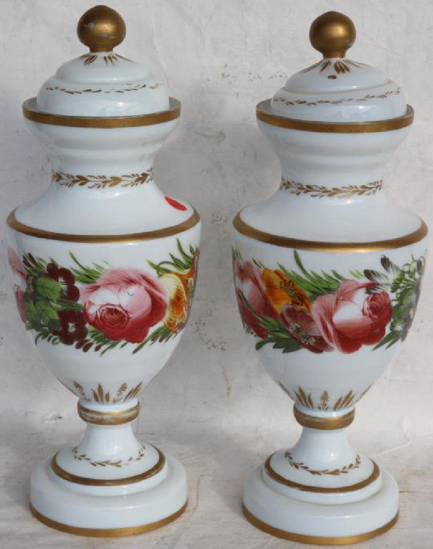 PAIR OF 19TH C. OPAL GLASS COVERED URNS, FLORAL