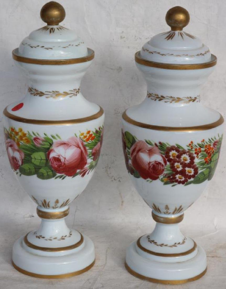 PAIR OF 19TH C. OPAL GLASS COVERED URNS, FLORAL - 2