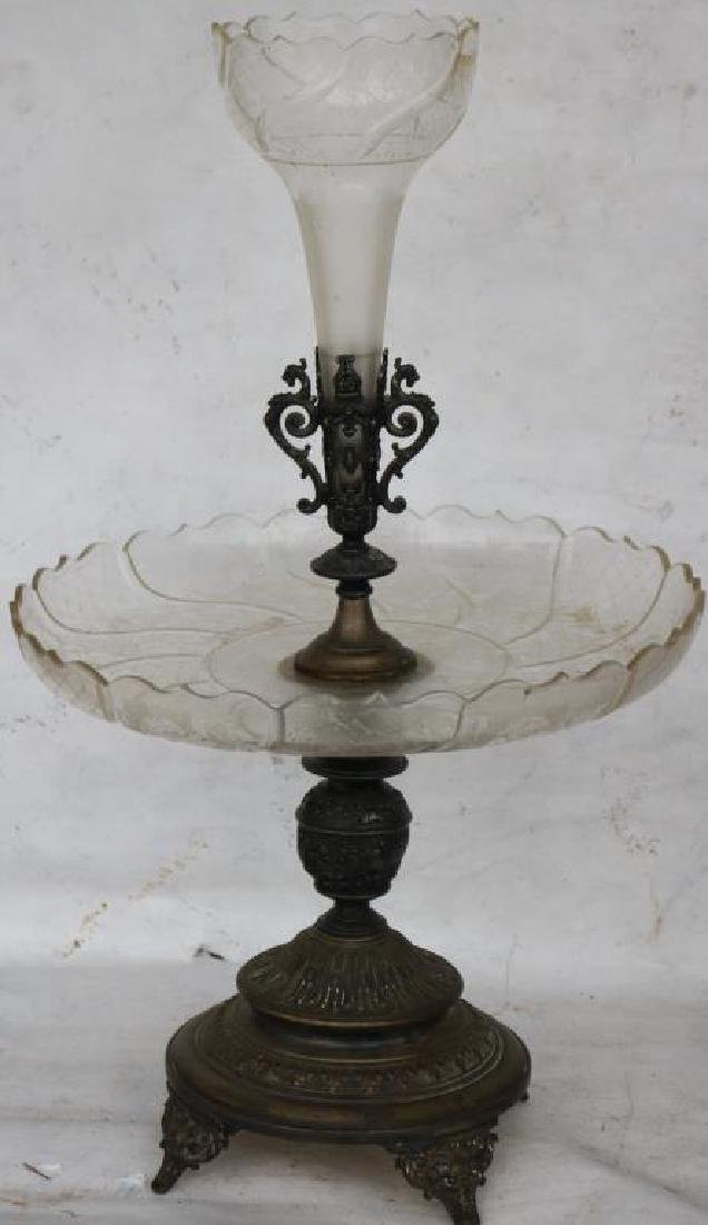 19TH C. ETCHED GLASS EPERGNE W/SILVER PLATED BASE