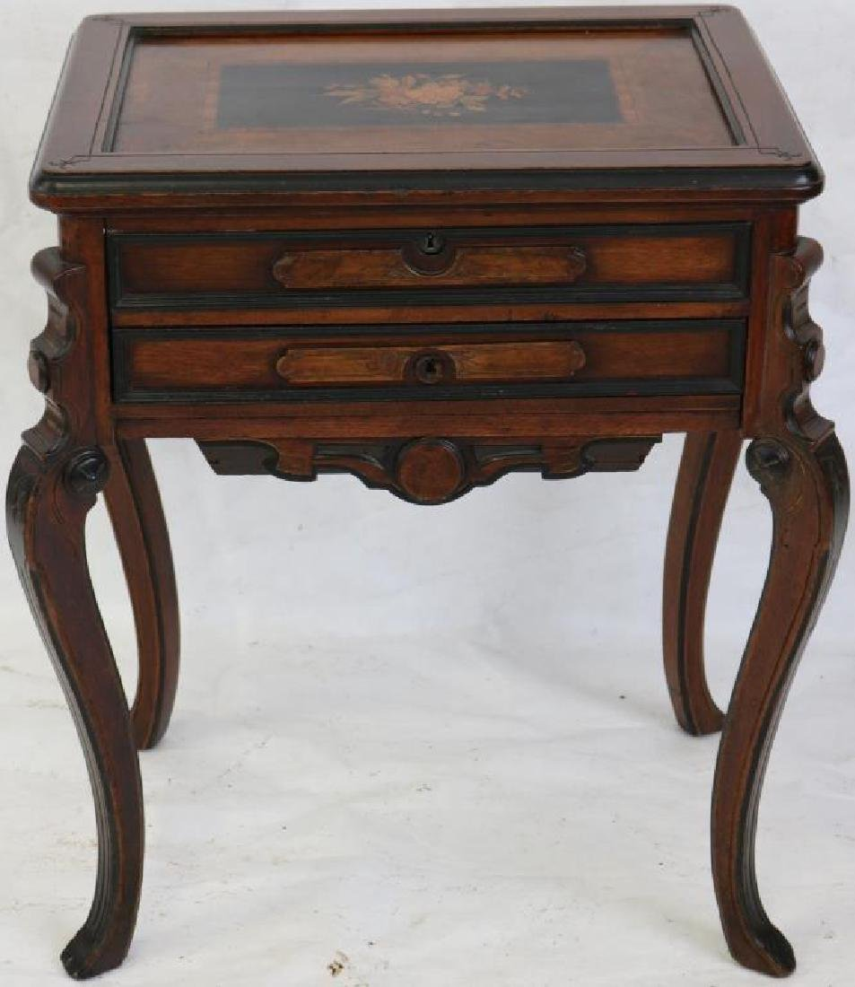 VICTORIAN WALNUT INLAID LIFT TOP SEWING STAND,