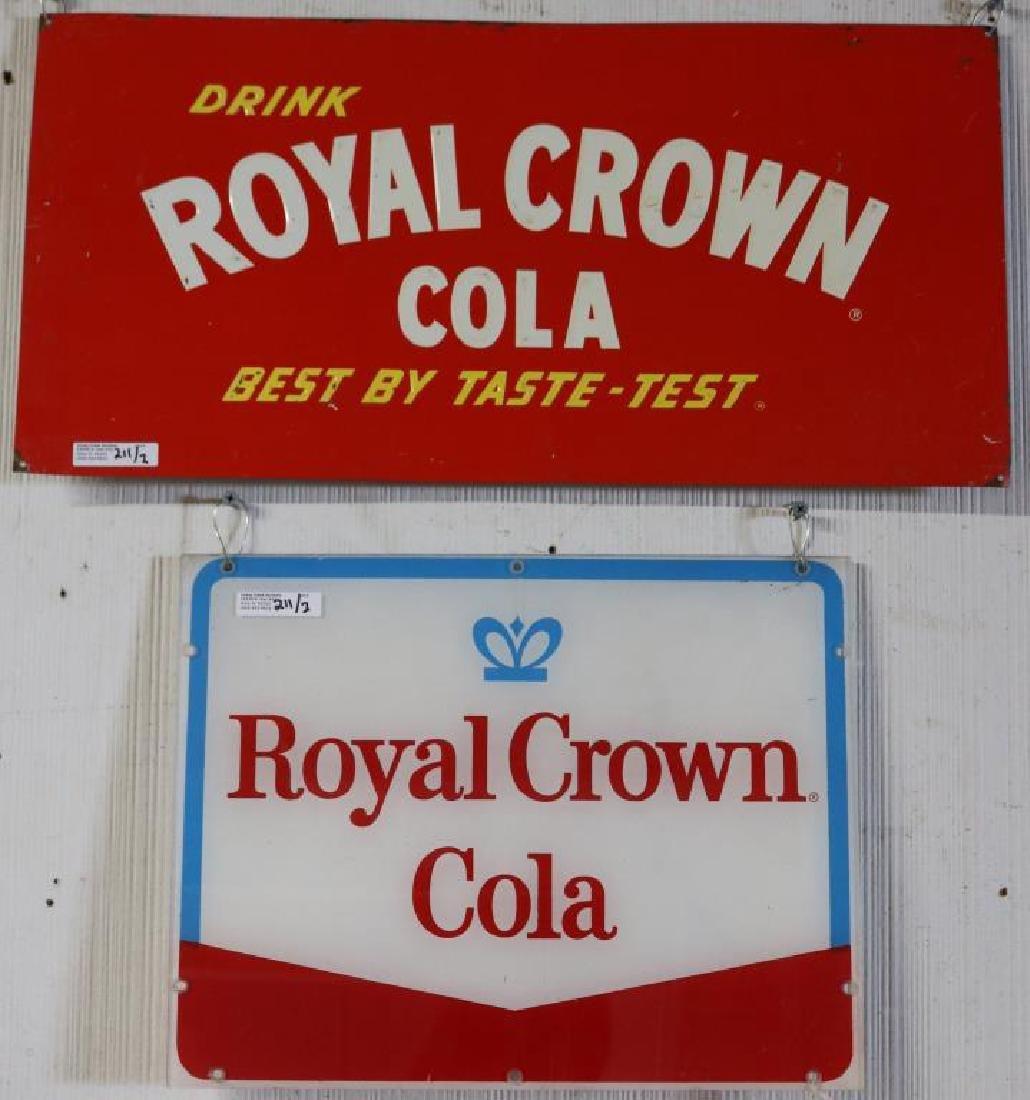 2 VINTAGE ROYAL CROWN COLA ADVERTISING SIGNS,