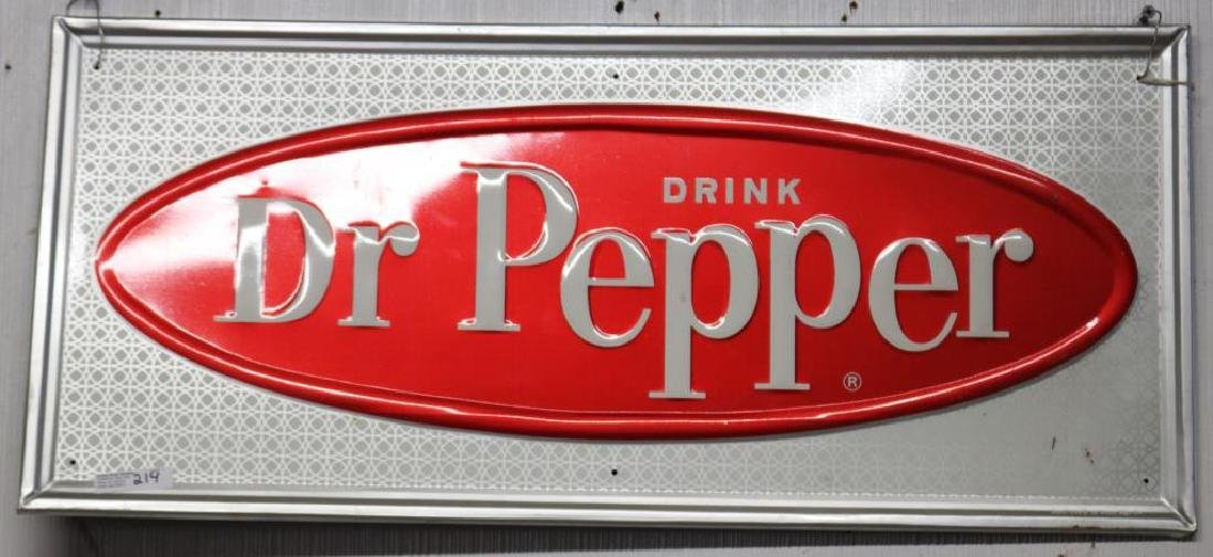 LITHO TIN DR. PEPPER SIGN, CIRCA 1960,