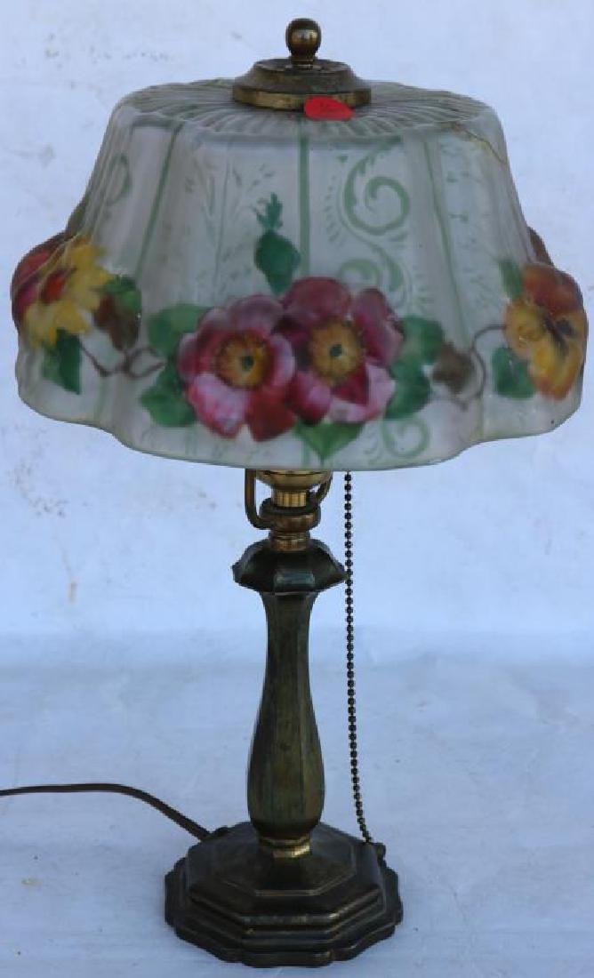 PAIRPOINT REVERSE PAINED BOUDOIR LAMP W/ PUFFY