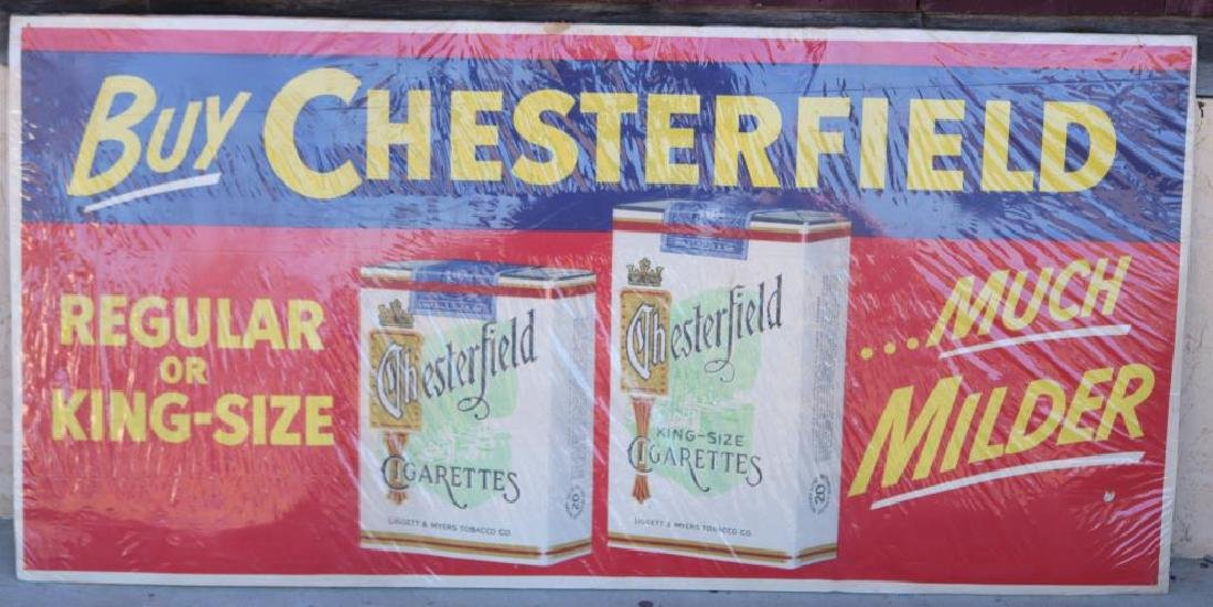 LARGE LITHOGRAPH CHESTERFIELD CIGARETTES SIGN,