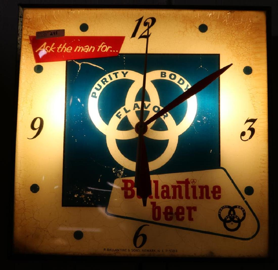 OLD VALENTINE BEER ADVERTISING CLOCK, AGE