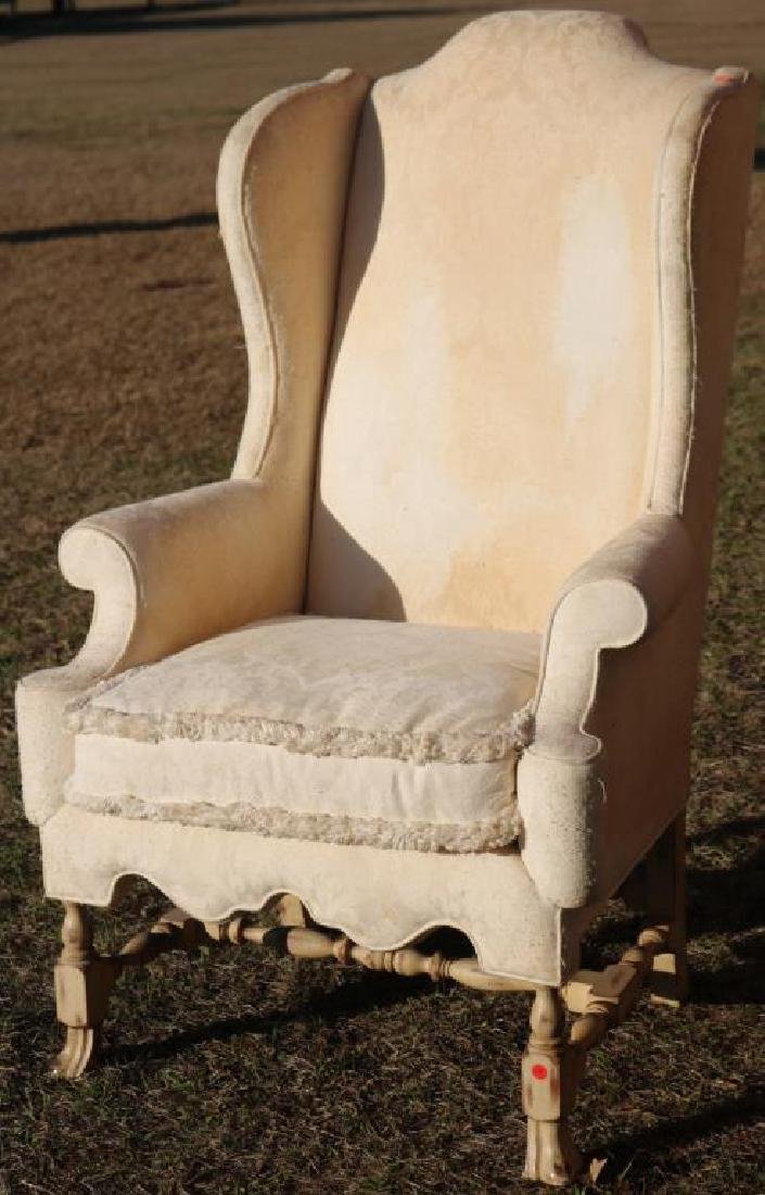 QUALITY BAKER SPANISH WOOD WING CHAIR, ORIGINAL