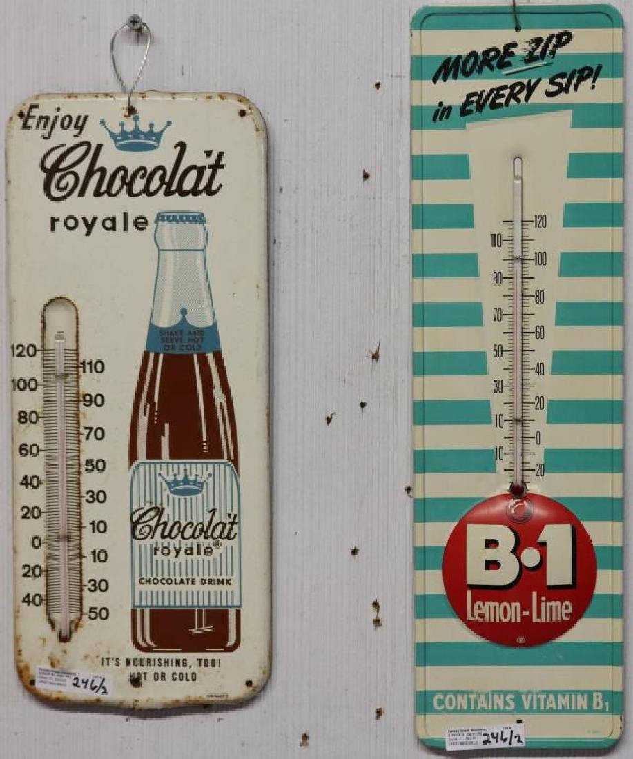 2 LITHO TIN THERMOMETERS, CHOCOLATE ROYALE