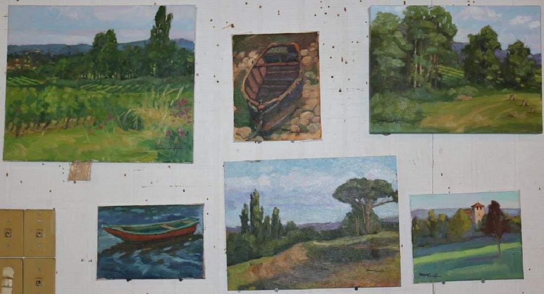 LOT OF 6 OIL ON CANVAS AND BOARD, VARIOUS